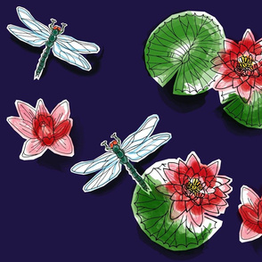 Dragonflies_and_Lilies