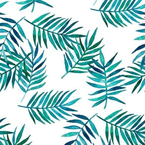 Paradise Palm Leaves - green, navy, teal on white