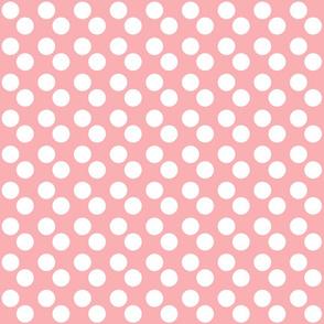 Salmon Pink Polka Dots