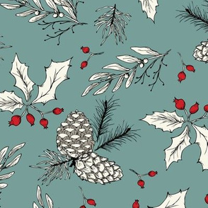 Winter Bits - Ivory, Spruce