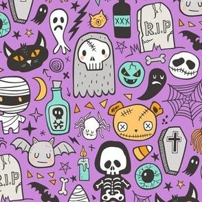 Halloween Doodle Skulls,Spiders,Skeleton,Bat, Ghost,Web, Zombies on Purple