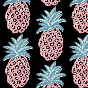 Coral Pineapples ~  summer retro pink and blue