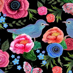Flower garden with roses, anemones and birds