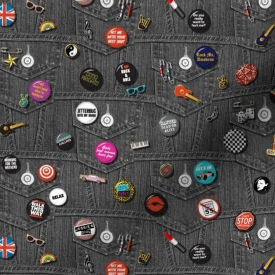 Fabric by the Yard '80s Rock & Roll Flair* (Mini Black Denim) || buttons  pins pinbacks music retro denim rock and roll band typography words fashion