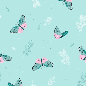 Butterflies - soft mint with delicate flowers