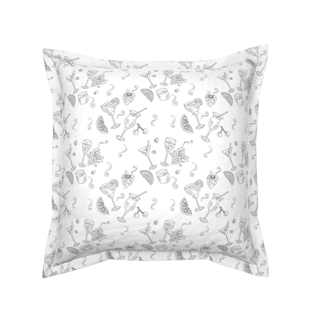 Serama Throw Pillow featuring Cocktail Glasses [Black On White] by theartofvikki