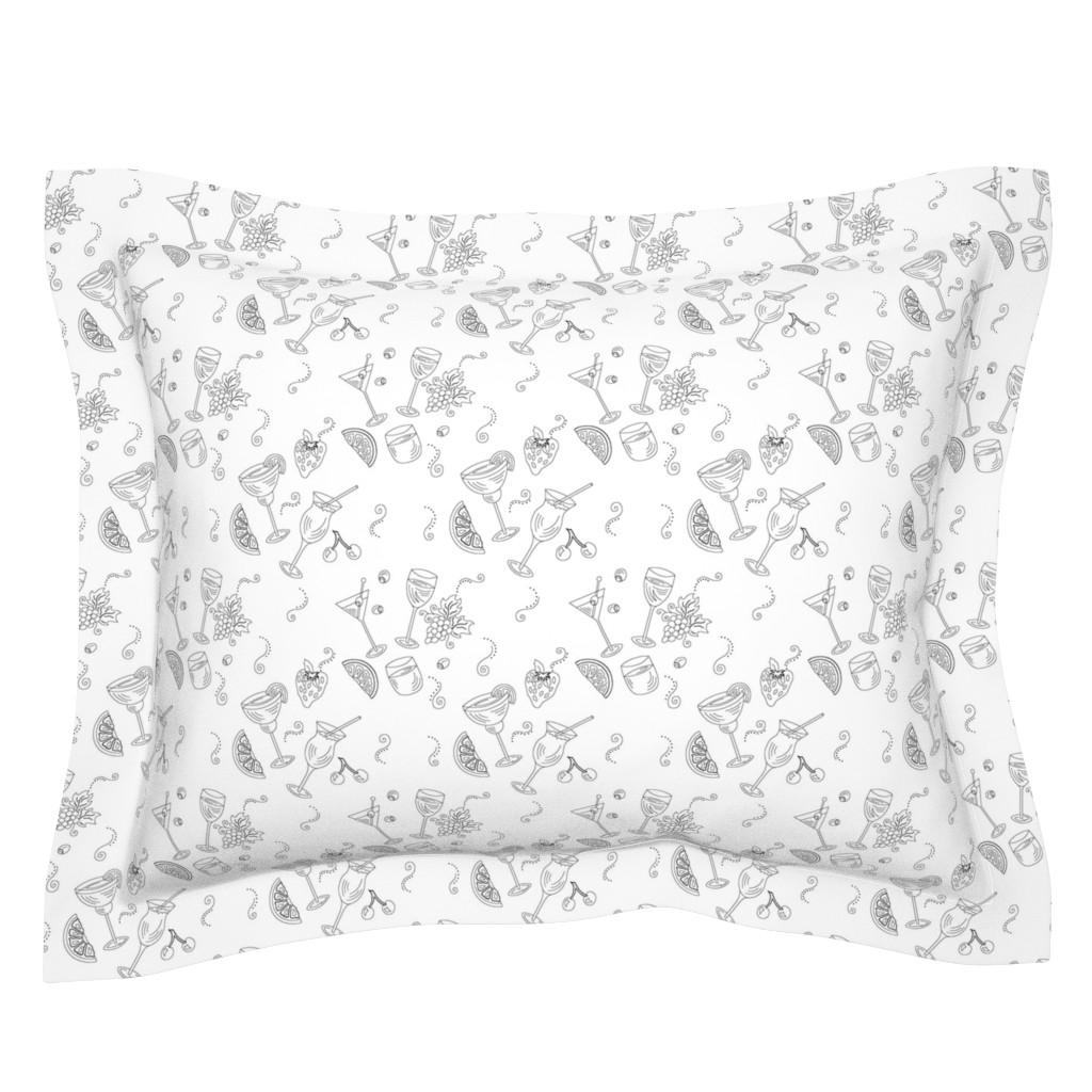 Sebright Pillow Sham featuring Cocktail Glasses [Black On White] by theartofvikki