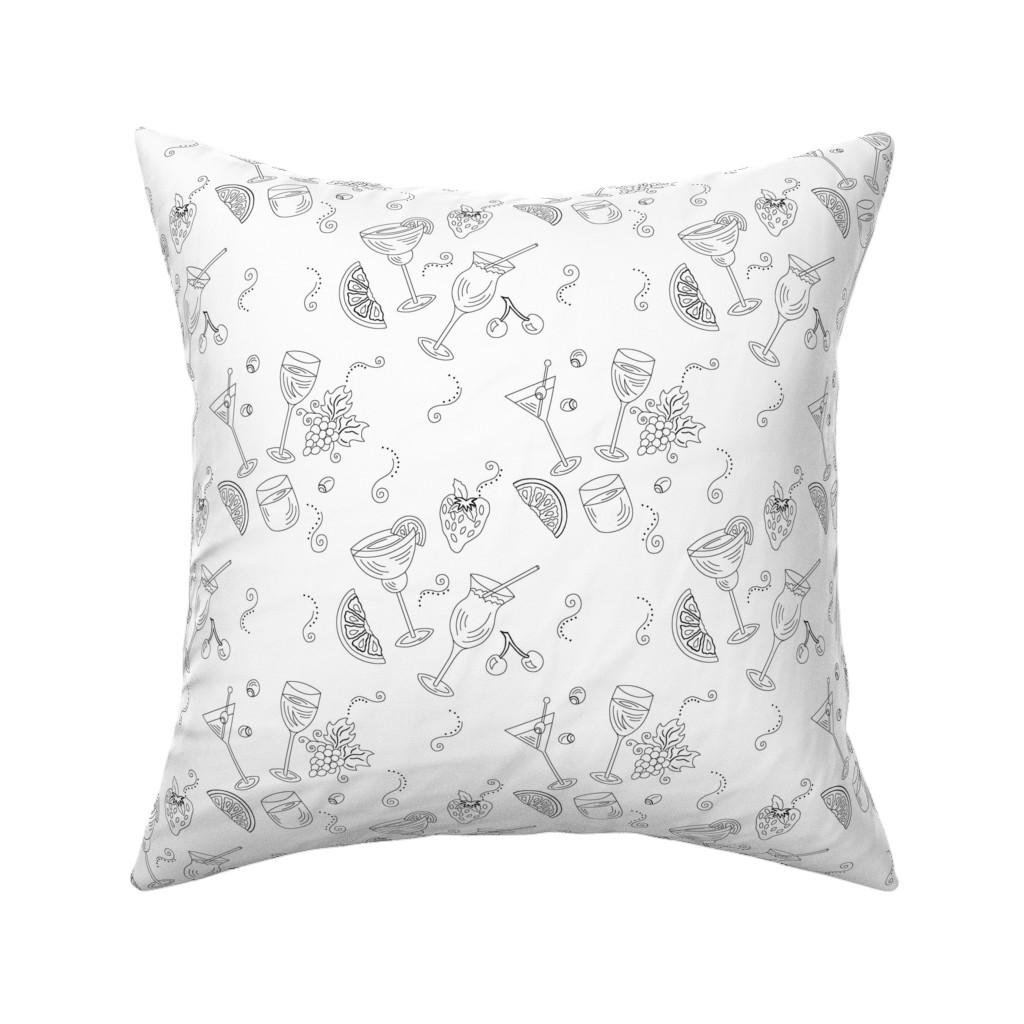 Catalan Throw Pillow featuring Cocktail Glasses [Black On White] by theartofvikki