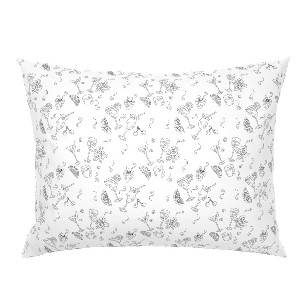 Campine Pillow Sham featuring Cocktail Glasses [Black On White] by theartofvikki