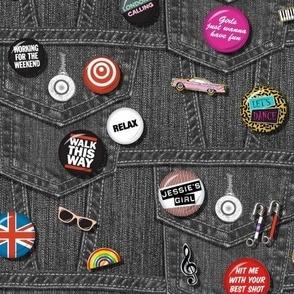'80s Rock & Roll Flair* (Black Denim) || buttons pins pinbacks music retro denim rock and roll band typography words fashion friendship punk emo
