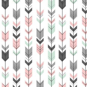 arrow coordinate - Fearfully and Wonderfully Made Patchwork Fabric || Mint, Pink, Grey