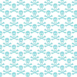 aqua linen skulls