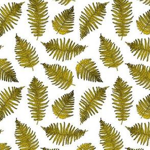 Botanical hawaiian summer garden green fern tropical plant mustard yellow SMALL