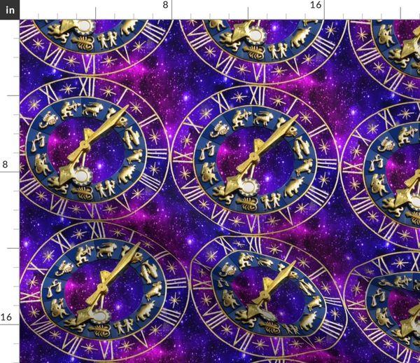 Fabric by the Yard 1 clocks time stars universe purple galaxy zodiac  Horoscope Aries Taurus Gemini Cancer Leo Virgo Libra Scorpio Sagittarius