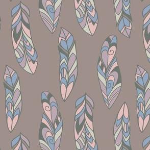 Bohemian style feather pattern