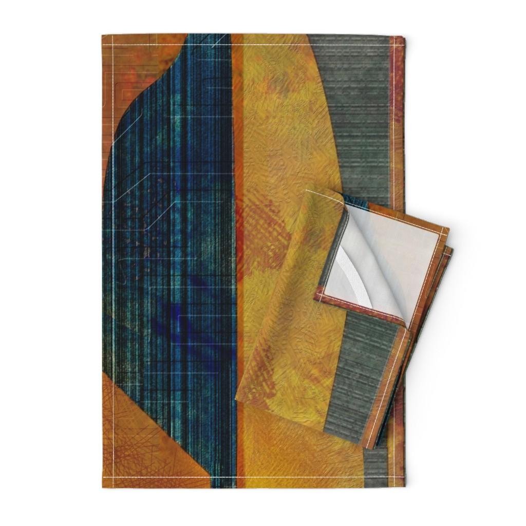 Orpington Tea Towels featuring Mod abstract copper teal gold by wren_leyland