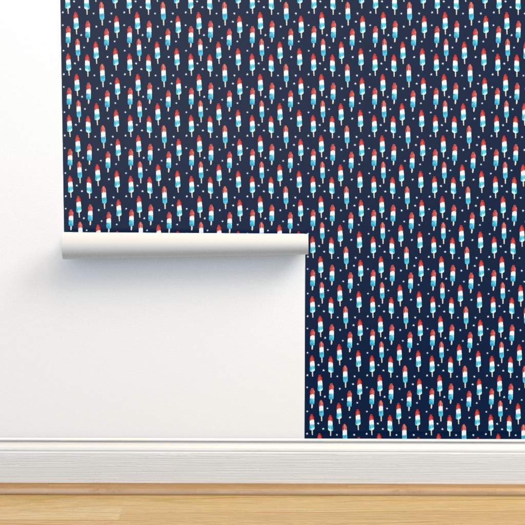 Isobar Durable Wallpaper featuring bomb pops with stars on navy by littlearrowdesign