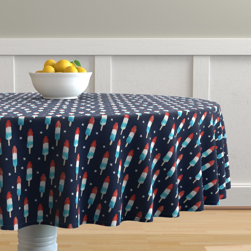Malay Round Tablecloth featuring bomb pops with stars on navy by littlearrowdesign
