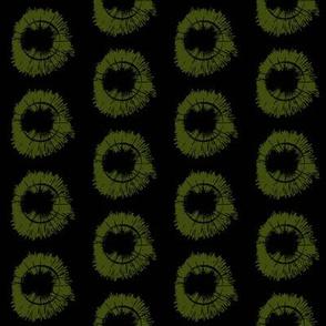 Tree Circles half scale _Dark green on Black ground
