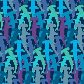 hammerhead sharks on blue (vertical)