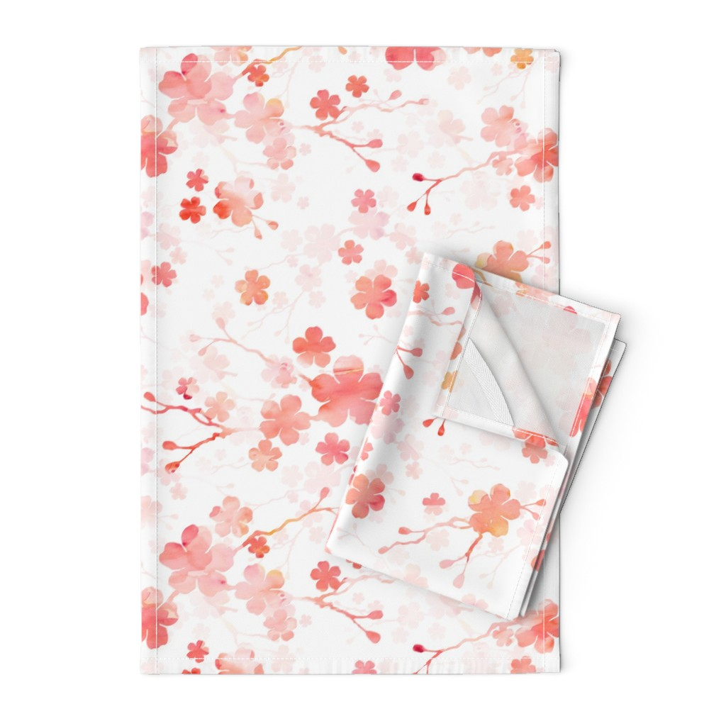 Orpington Tea Towels featuring Peach pink cherry blossom on white by adenaj