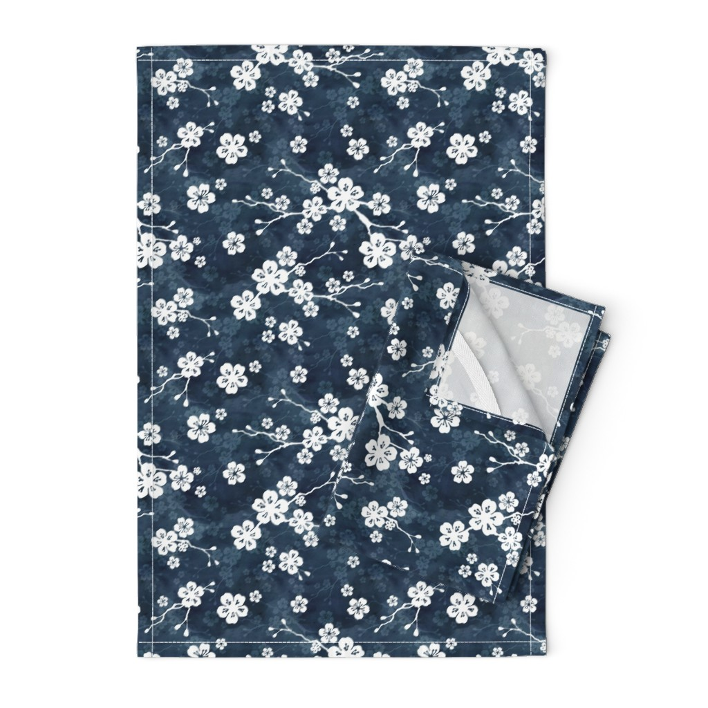 Orpington Tea Towels featuring Navy blue cherry blossom by adenaj