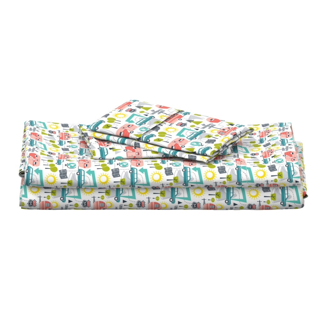 Langshan Full Bed Set featuring Road Trip - Retro Summer Camping by heatherdutton