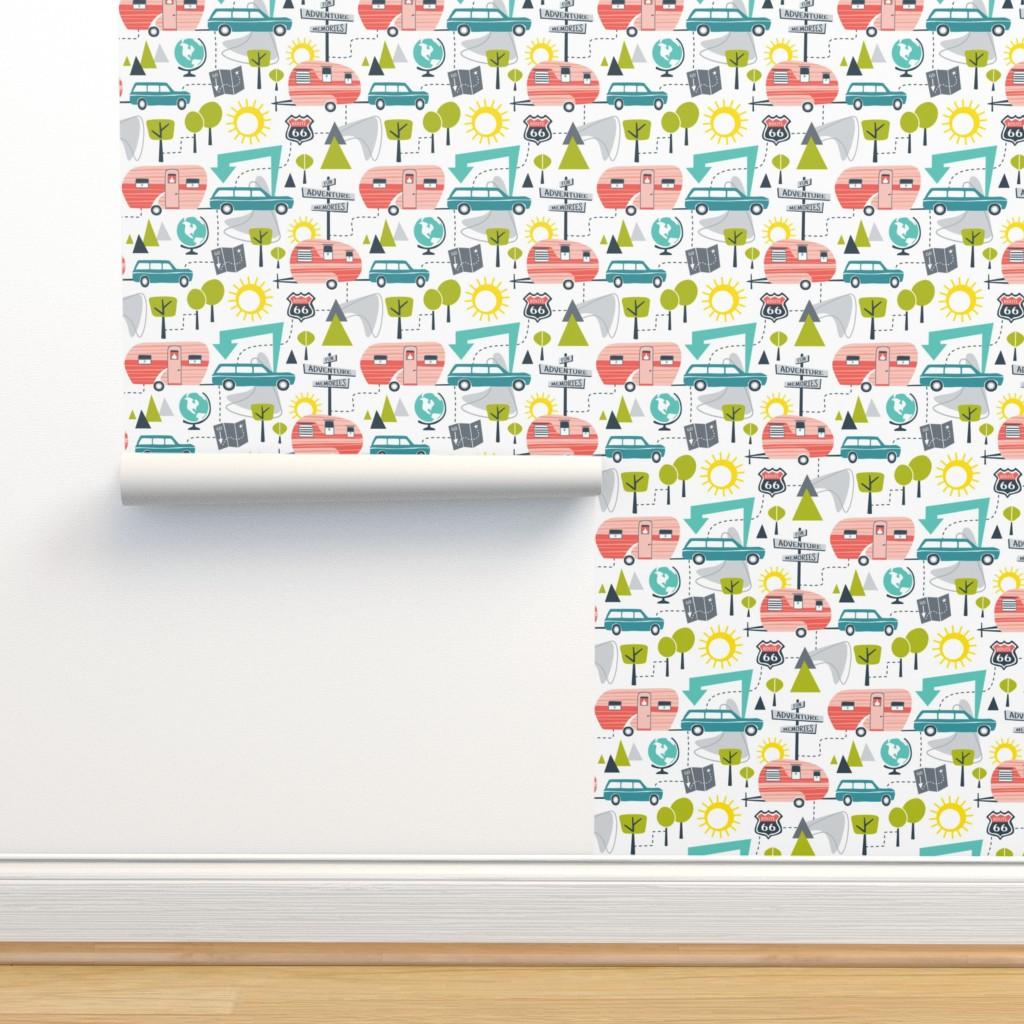 Isobar Durable Wallpaper featuring Road Trip - Retro Summer Camping Regular Scale by heatherdutton