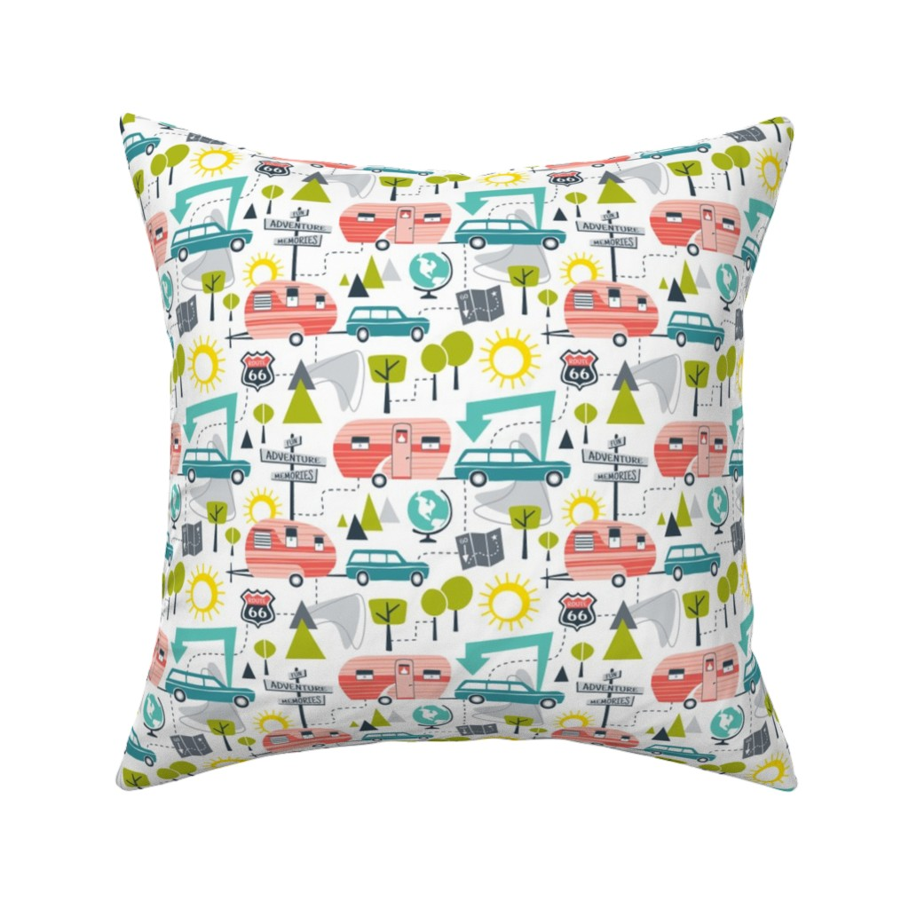 Catalan Throw Pillow featuring Road Trip - Retro Summer Camping by heatherdutton