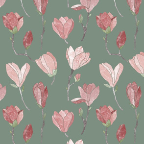 Pink magnolia flowers on olive green