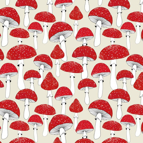 Red mushrooms on beige