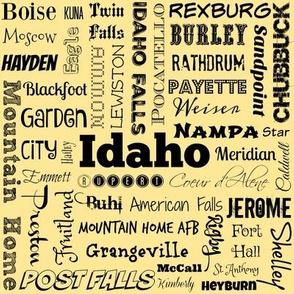 Idaho cities, yellow