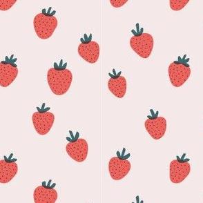 Strawberries on Light Pink by finka studio