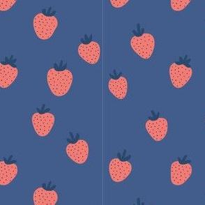 Strawberries on Blue by finka studio