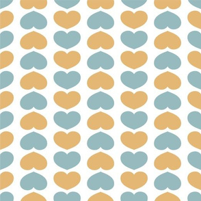 Bed of Hearts (Aqua & Yellow) by finka studio