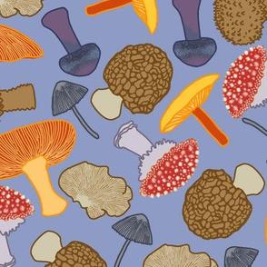 Mushrooms Scattered (blue)