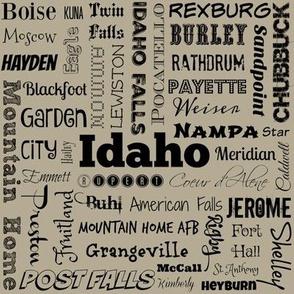 Idaho cities, taupe