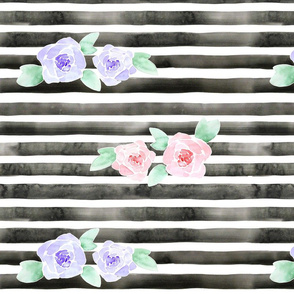 Watercolor Roses on Charcoal Stripes