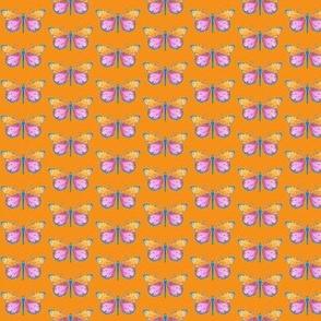 Small butterflies, colourful on vivid orange || shirt top blouse night gown woman dress fun trendy man men girl kid women