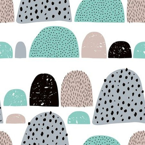 Dotted textured summer mole hills and abstract colorful mountains scallop blue winter