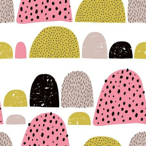 Dotted textured summer mole hills and abstract colorful mountains scallop pink mustard