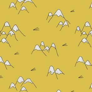 Japanese mount fuji woodland geometric nature asian prints mustard yellow