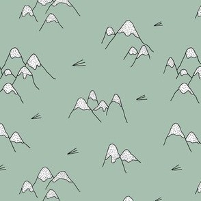 Japanese mount fuji woodland geometric nature asian prints moss green