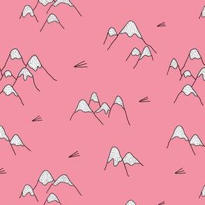Japanese mount fuji woodland geometric nature asian prints pink girls