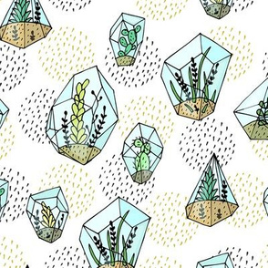 Succulents white pattern