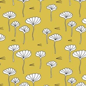 Japanese lotus flower garden sweet minimal botanical japan designs mustard yellow