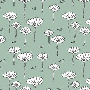 Japanese lotus flower garden sweet minimal botanical japan designs moss green