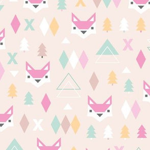 Geometric fox and pine tree illustration pattern soft japanese kawaii pastels