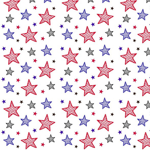 Red White and Blue Stars / Patriotic Americana Fourth of July