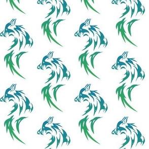green wolf on white
